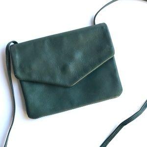 VINTAGE 80's Hunter Green Leather Crossbody Purse